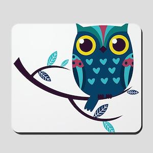 Dark Teal Owl Mousepad