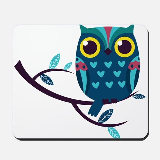 Dark Teal Owl Mousepad