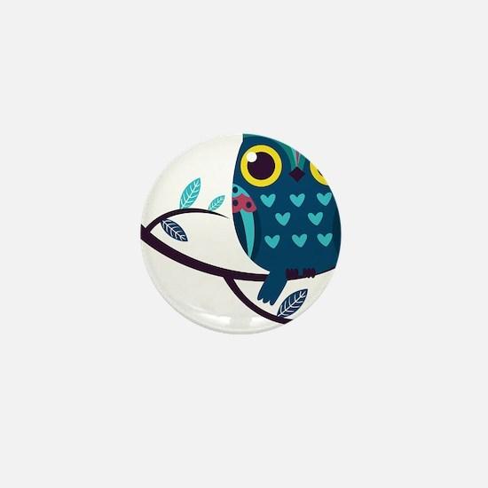 Dark Teal Owl Mini Button (10 pack)