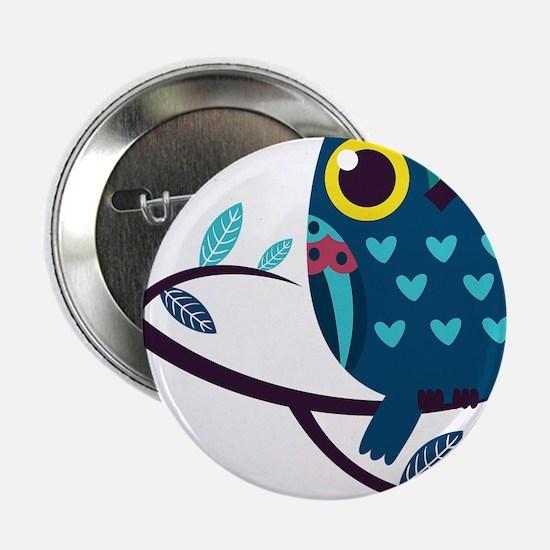 """Dark Teal Owl 2.25"""" Button"""