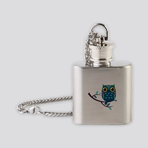 Dark Teal Owl Flask Necklace
