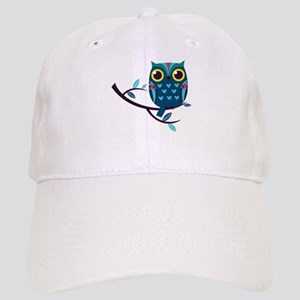 Dark Teal Owl Baseball Cap