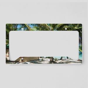 Fijian beachfront bure License Plate Holder