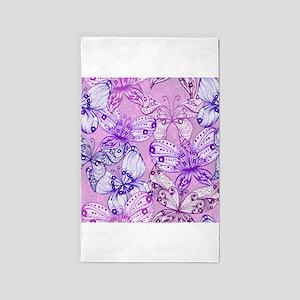 Purple Butterflies 3'x5' Area Rug
