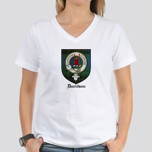 Davidson Clan Crest Tartan Women's V-Neck T-Shirt