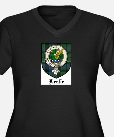 Leslie Clan Crest Tartan Women's Plus Size V-Neck