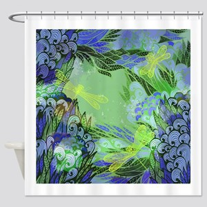 Golden Dragonflies Shower Curtain