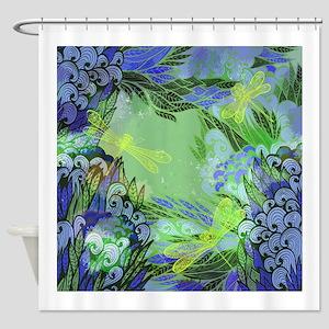 Golden Dragonflies Shower Curtain