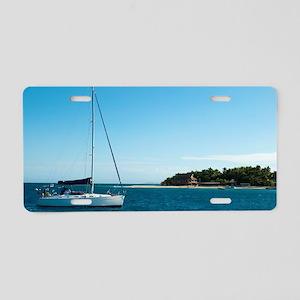 Yacht at Beachcomber Island Aluminum License Plate