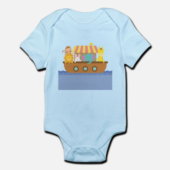 Colourful Noahs Ark with Cute Animals Body Suit