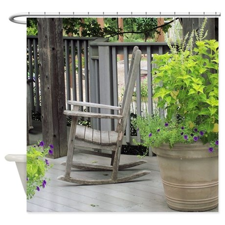 Wooden Rocking Chair Side View Shower Curtain by suit_yourself
