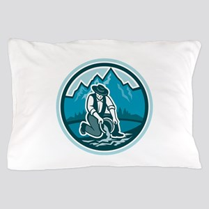 Gold Prospector Miner Panning Circle Retro Pillow