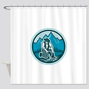 Gold Prospector Miner Panning Circle Retro Shower