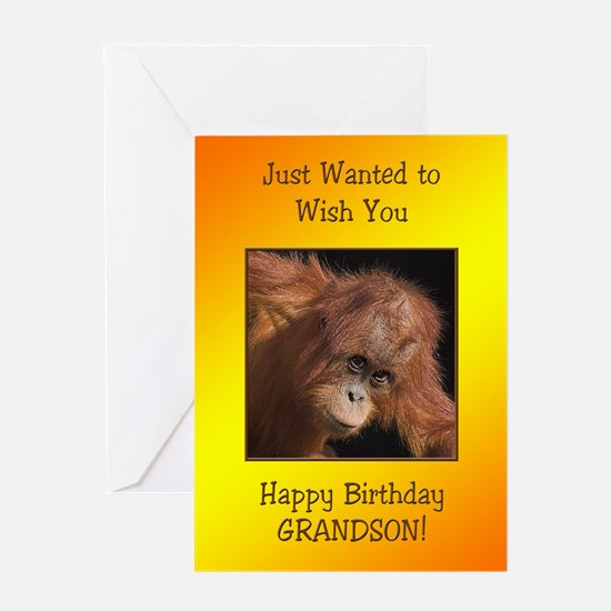 For grandson a birthday card with a baby orang uta