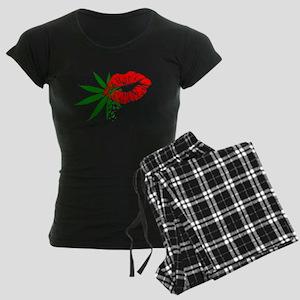 Marijuana Lips Women's Dark Pajamas