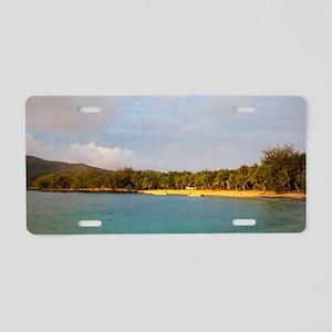 Sunset on a tropical beach Aluminum License Plate