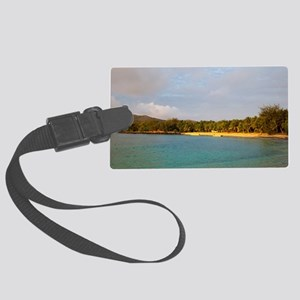 Sunset on a tropical beach Large Luggage Tag