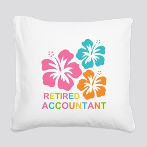 Hibiscus Retired Accountant Square Canvas Pillow