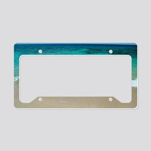 Idyllic sandy beach and blue  License Plate Holder
