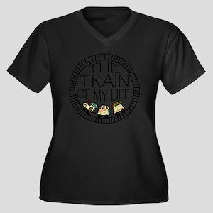 Train Life Women's Plus Size V-Neck Dark T-Shirt