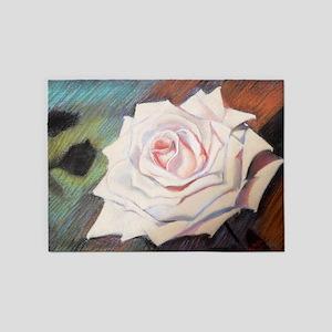 Tender rose hand painted 5'x7'Area Rug
