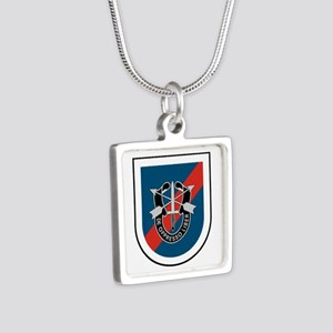 20th Special Forces Silver Square Necklace