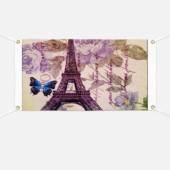 blue butterfly modern paris eiffel tower Banner