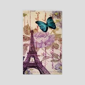 blue butterfly modern paris eiffel tower 3'x5' Are