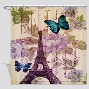 blue butterfly modern paris eiffel tower Shower Cu