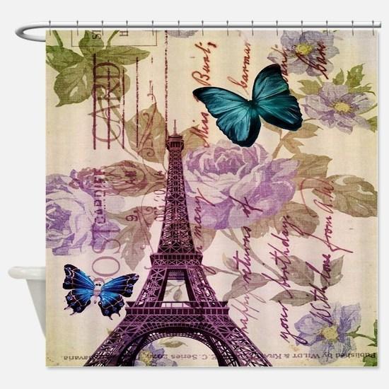 blue butterfly modern paris eiffel tower Shower Cu