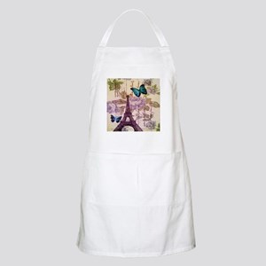 blue butterfly modern paris eiffel tower Apron