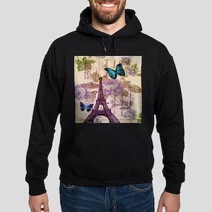 blue butterfly modern paris eiffel tower Hoodie