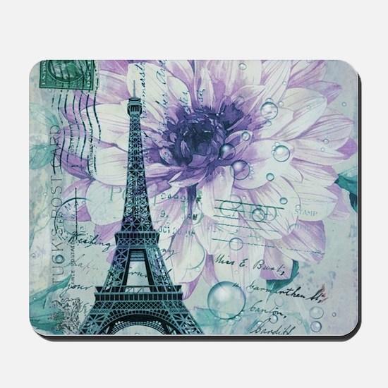 stamps purple floral modern paris eiffel tower Mou
