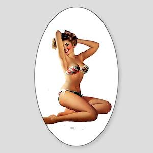 Sexy Pin Up Sticker (Oval)