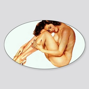Sexy Pin Up Sticker (Oval)