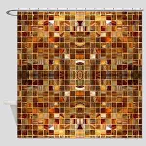 Gold Mosaic Tiles Shower Curtain