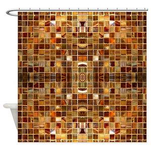 Brown Mosaic Shower Curtains