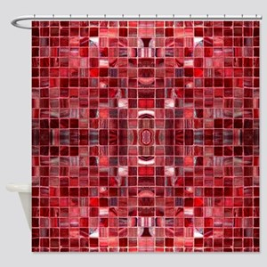Cherry Mosaic Tiles Shower Curtain