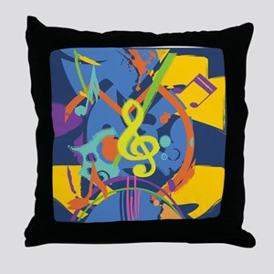 Bright Abstract music design Throw Pillow
