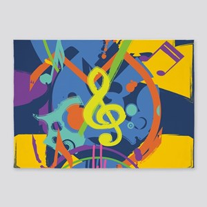 Bright Abstract music design 5'x7'Area Rug