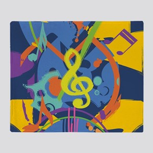 Bright Abstract music design Throw Blanket