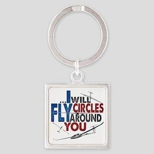 Glider Pilot Boasting Square Keychain