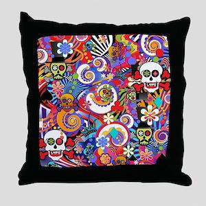 Colorful Sugar Skull Art Print by Juleez Throw Pil