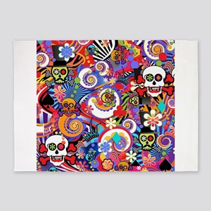 Colorful Sugar Skull Art Print by Juleez 5'x7'Area