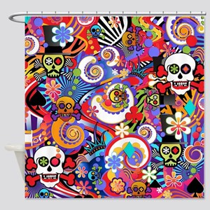 Colorful Sugar Skull Art Print by Juleez Shower Cu