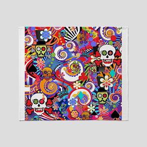 Colorful Sugar Skull Art Print by Juleez Throw Bla