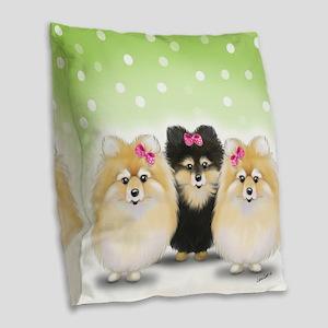 The Pom sisters Burlap Throw Pillow