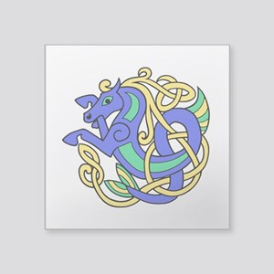 "Celtic Hippocampus 2 Square Sticker 3"" x 3"""