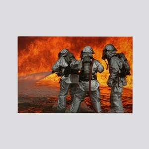 3 Firefighters fighting a fire Rectangle Magnet