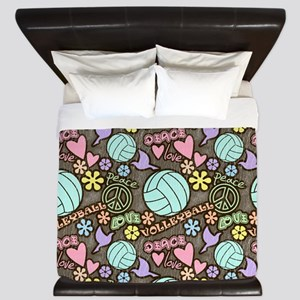 Peace, Love, Volleyball King Duvet